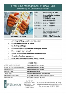 Frontline Management of Back Pain_GP Workshop